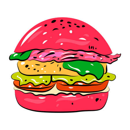 Hamburger on a white background. Ilustración de vector