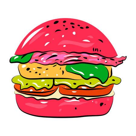 Hamburger on a white background. Vektorové ilustrace