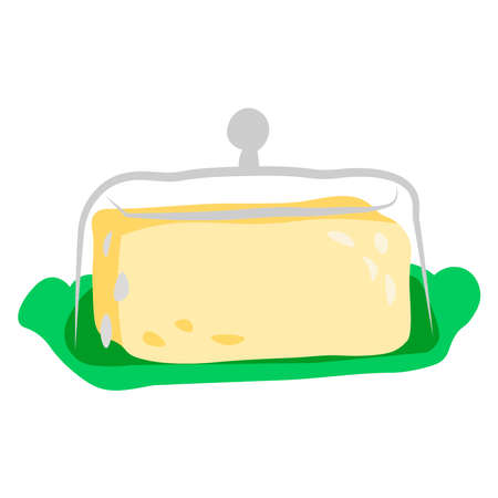 Buttercup with butter on a white background. Stock Illustratie