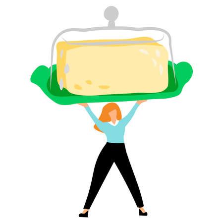 Girl holding Buttercup. Vector illustration