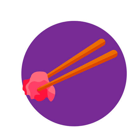 Chinese chopsticks logo with food. Cartoon flat.