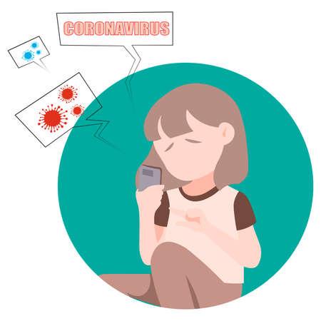 Communication over the phone. Coronavirus, stay home.