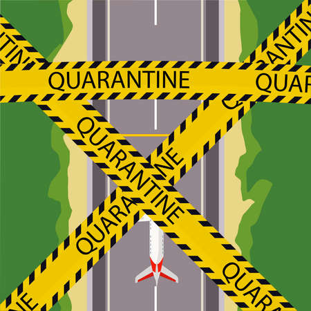 Quarantine for flights. Preventing the spread of coronovirus. Vector illustration