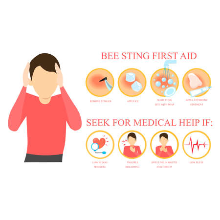 first aid infographic. Remove sting from the skin 向量圖像