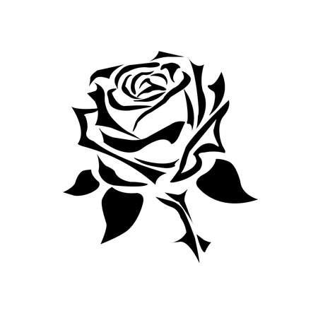 Black rose icon isolated on white background logo tatto. Vector illustration
