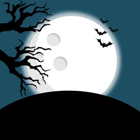 halloween illustration big moon bats scary and horror Ilustracje wektorowe