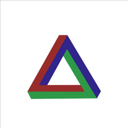unmögliche figur dreieck isolierte vektorillustration