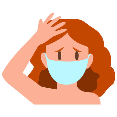 Picture of sick girl on a white background. Virus.