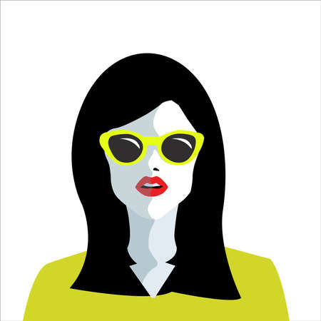 woman in sunglasses icon isolated