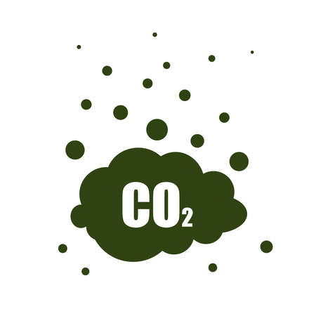 carbon dioxide icon on black cloud