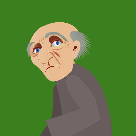 Picture of old grandfather on green background. Vettoriali