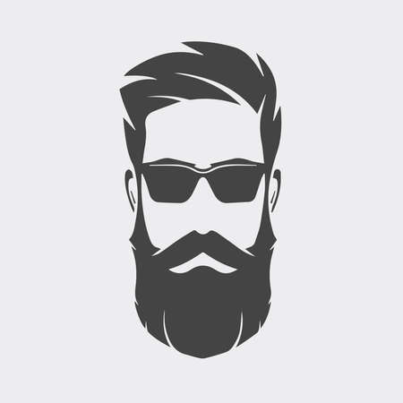 Logo homme avec barbe sur fond blanc.