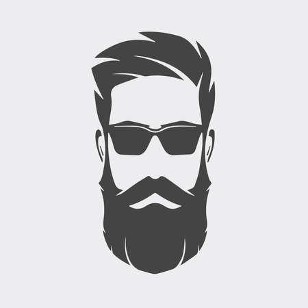 Mannlogo mit Bart auf weißem Hintergrund.
