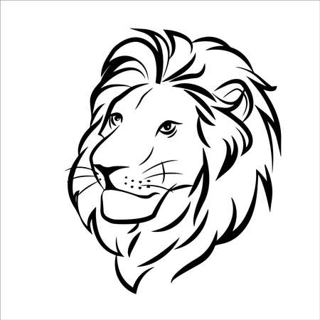 lion head in color logo on white background