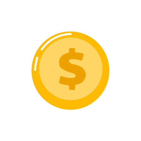 Gold coin icon isolated on background