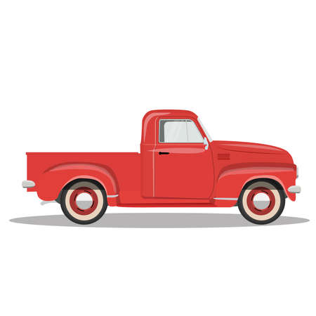 red pickup truck isolated on white background vector illustration Ilustración de vector