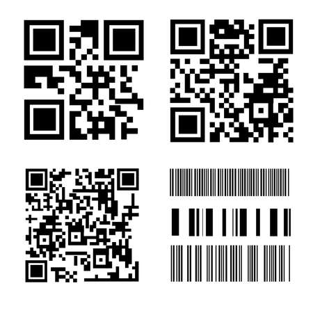 QRcodes and Barcodes on white background
