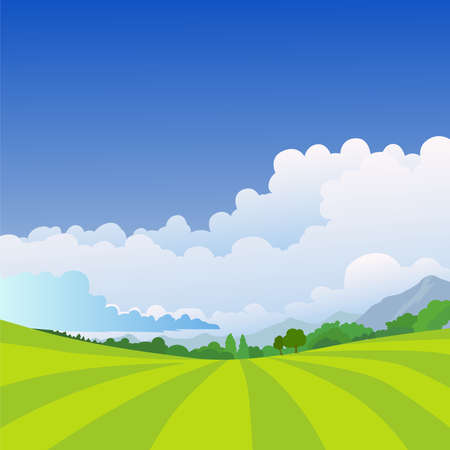 Vector illustration of beautiful countryside. summer