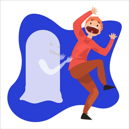 Man frightened by ghost on a white background. vector Illustration