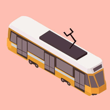 a tram 3D on a pink background