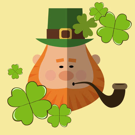 Postcard for St. Patrick's Day with a man with a red beard