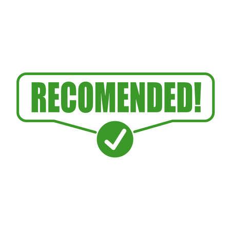sign recommended. Sticker Vector illustration Foto de archivo - 145617455