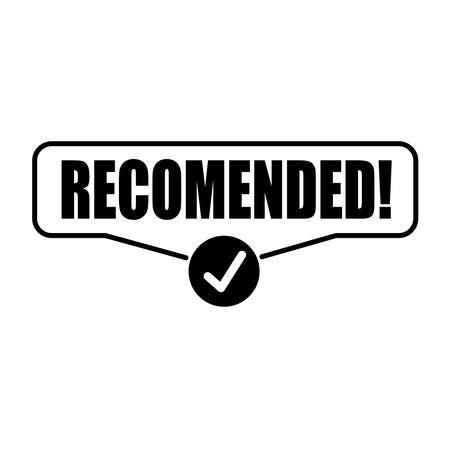 sign recommended. Sticker Vector illustration Foto de archivo - 145617463