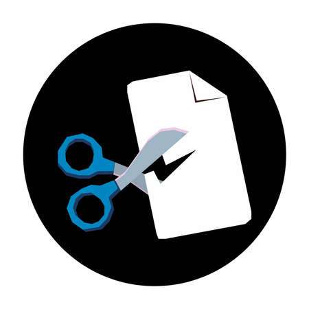 Icon of scissors cutting a document on a background