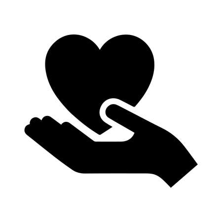hand holding heart icon on a background