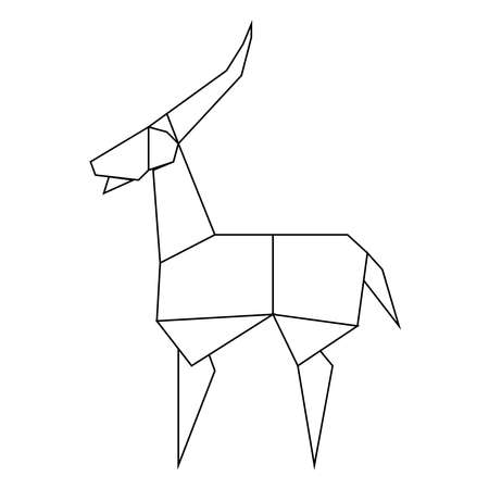 picture of antelope in line style on a background