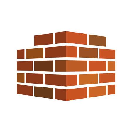 Photo d'un mur de briques sur fond blanc.