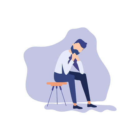 Depressed businessman on a background  イラスト・ベクター素材