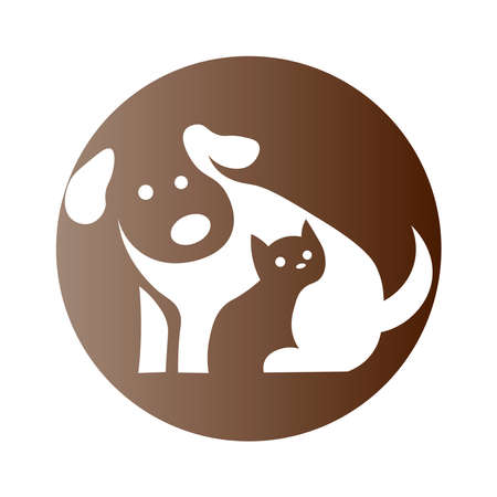 Dog and cat icon on a background