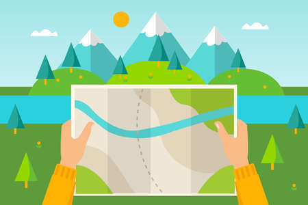 Map of mountains. Vector picture