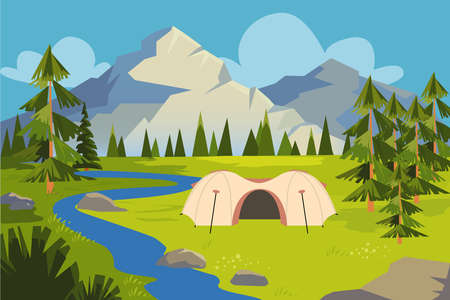 Picture of meadow, river near mountains. Vector Illustratie