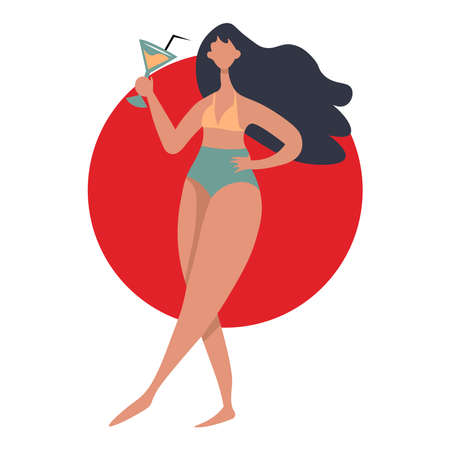 Girl with cocktail. Vector illustration
