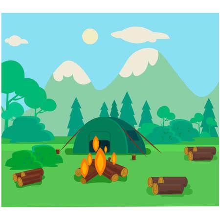 Broken camp, mountain trip illustration