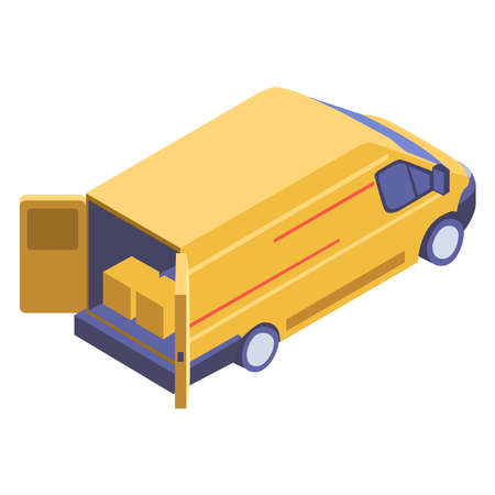 A picture of a truck that is loaded on a white background. Delivery of goods. Ilustrace