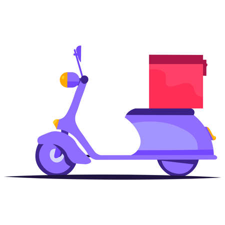 Scooter with a box on a white background.