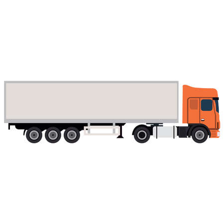 Picture of a truck with trailers on a white background. Delivery of goods.