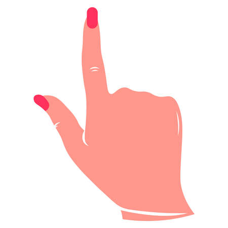 Hand with pointing finger on a white background.