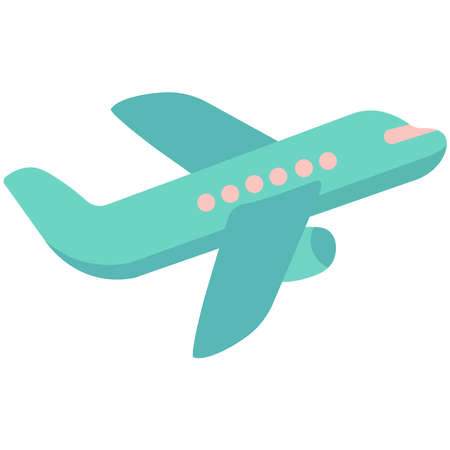 Airplane illustration on a white background.