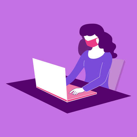 Picture of a girl working at home at the computer on a white background.