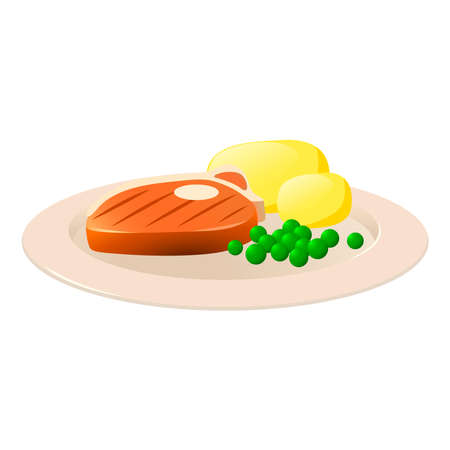 Picture of a steak with potatoes on a white background. Ilustración de vector