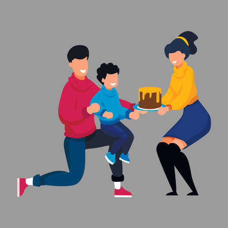 Picture of celebrating son's birthday in family on gray background.