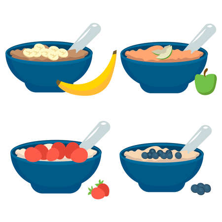 Set of plates with oatmeal with fruits: strawberries, blueberries, banana, apple on a white background.