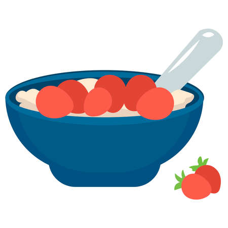 Picture of oatmeal with fruits on a white background. 일러스트