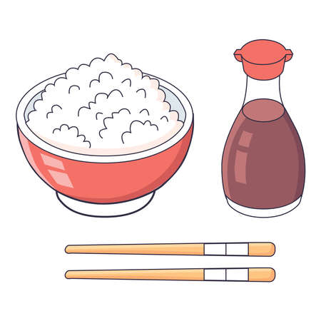 Picture of a plate with rice, chopsticks and a bottle of sauce on a white background.