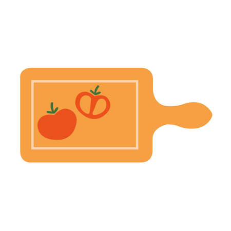 Picture of a board with chopped tomatoes on a white background. Иллюстрация
