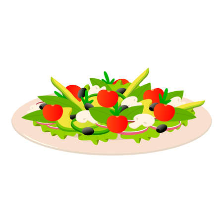 Pictures of salad on a white background.